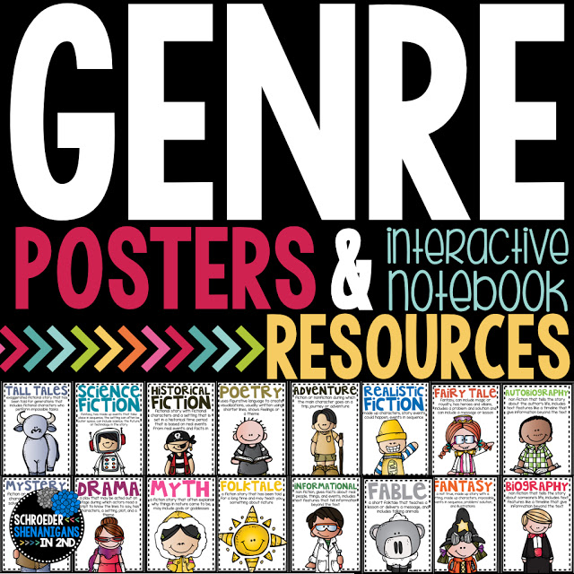Ashley wanted all of her students to have access to her genre posters, not just her homeroom kiddos. And so her genre on a ring idea was born!